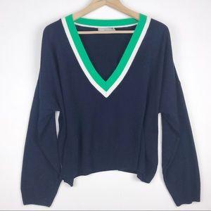 Asos Varsity oversize crop sweater V neck